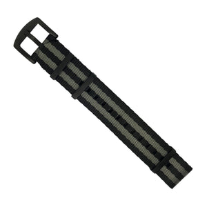 Seat Belt Nato Strap in Black Grey (James Bond) with Black Buckle (22mm) - Nomad Watch Works MY