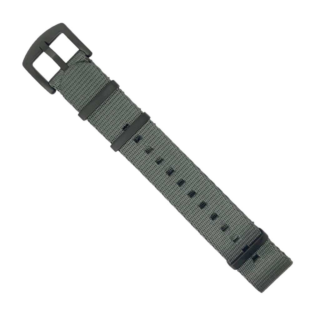 Seat Belt Nato Strap in Grey with Black Buckle (22mm) - Nomad Watch Works Malaysia