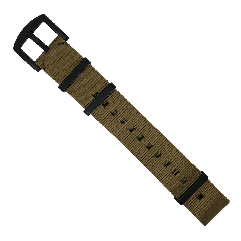 Seat Belt Nato Strap in Khaki with Black Buckle (22mm) - Nomad Watch Works Malaysia