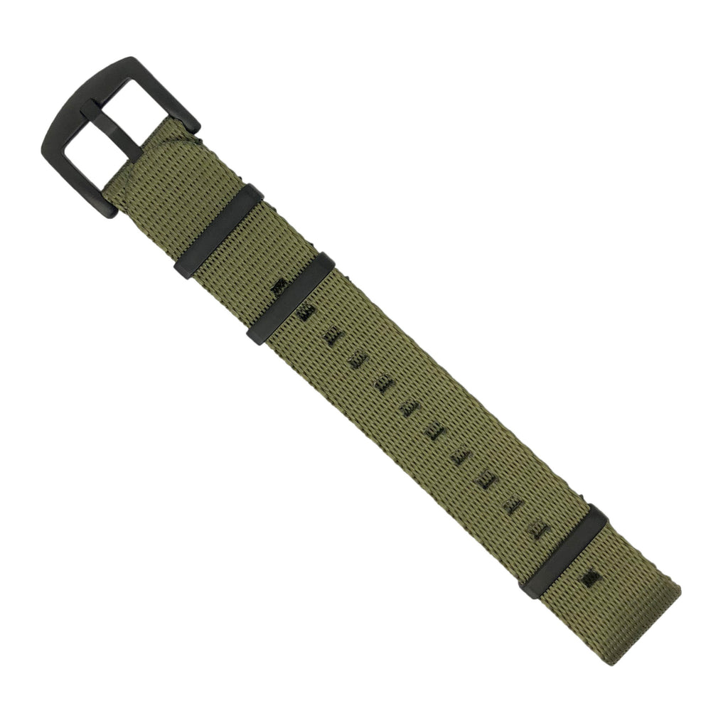 Seat Belt Nato Strap in Olive with Black Buckle (22mm) - Nomad Watch Works Malaysia