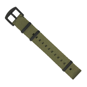 Seat Belt Nato Strap in Olive with Black Buckle (22mm) - Nomad Watch Works MY