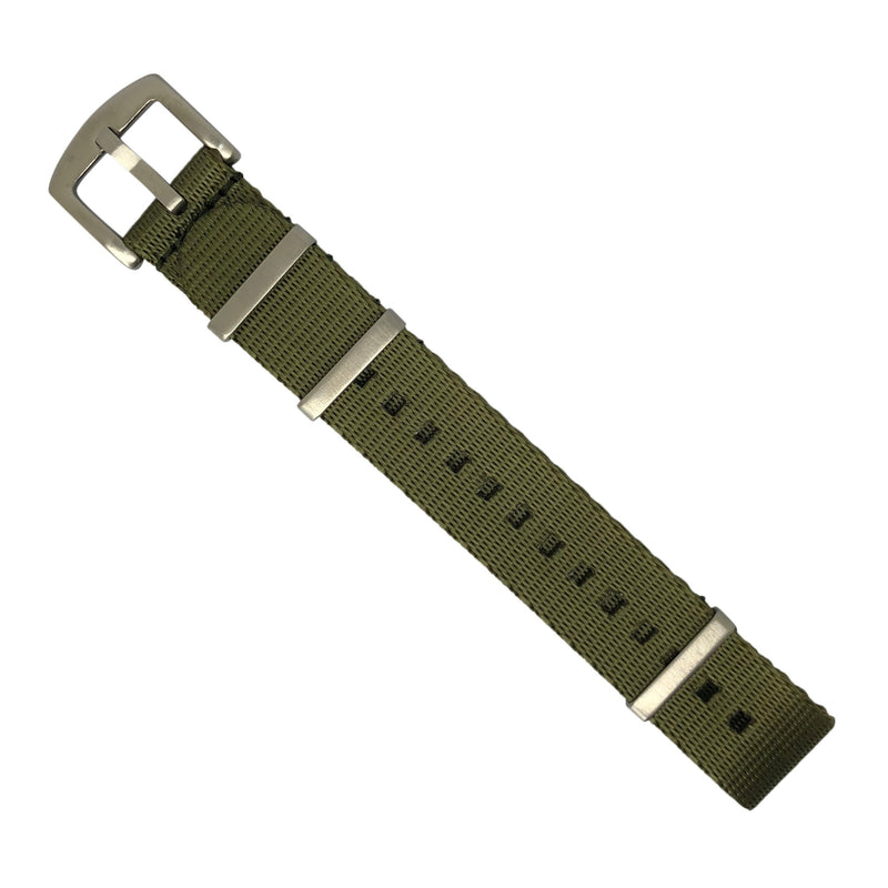 Seat Belt Nato Strap in Olive with Brushed Silver Buckle (20mm) - Nomad Watch Works MY