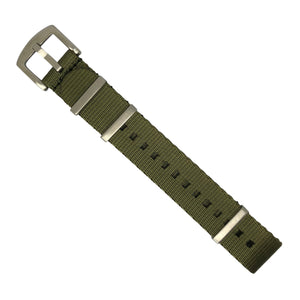 Seat Belt Nato Strap in Olive with Brushed Silver Buckle (22mm) - Nomad Watch Works MY
