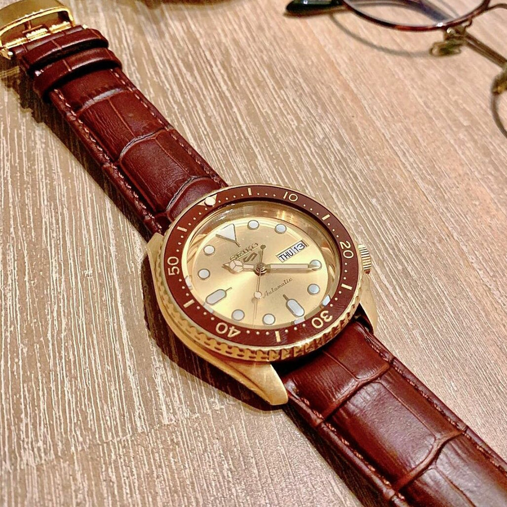 Genuine Croc Pattern Leather Watch Strap in Tan w/ Butterfly Clasp (19mm) - Nomad Watch Works Malaysia