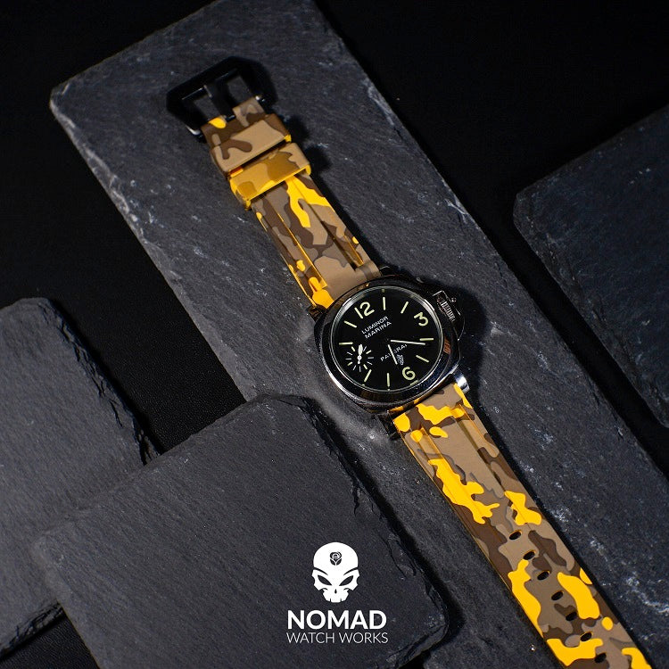 V3 Silicone Strap in Yellow Camo (22mm) - Nomad Watch Works Malaysia