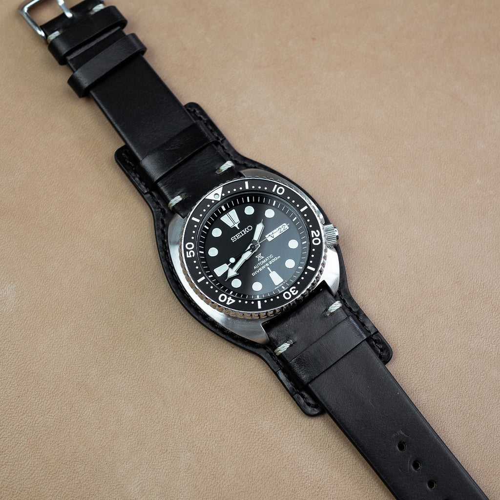 N2W Horween Leather Bund Pad in Black - Nomad Watch Works MY