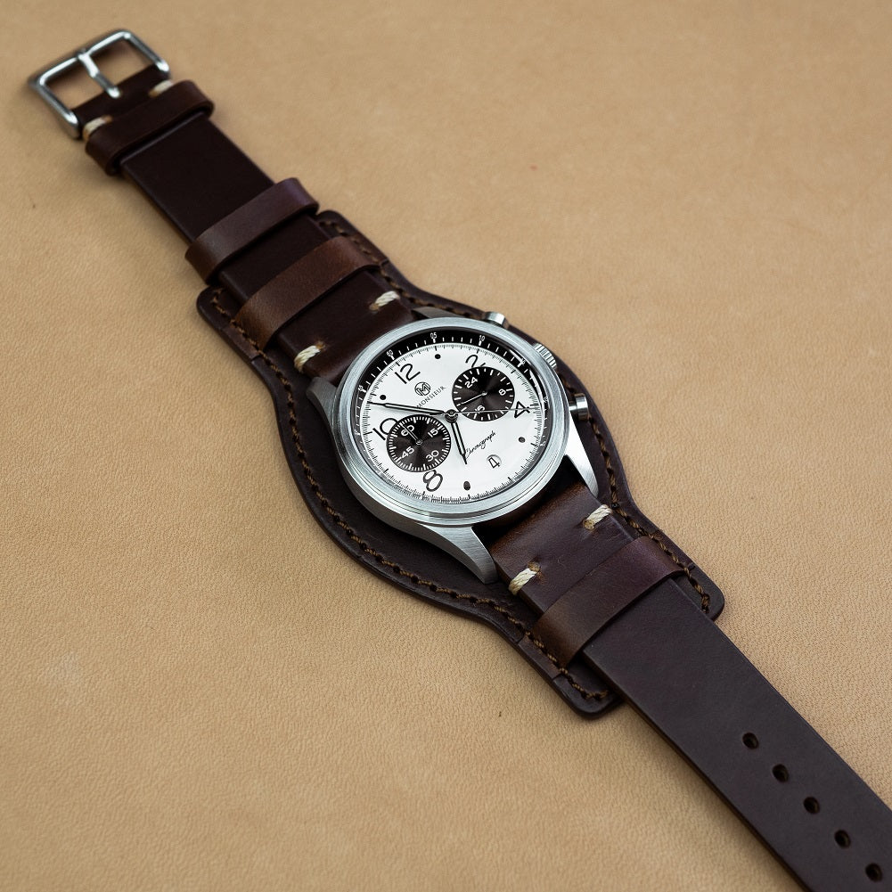 N2W Horween Leather Bund Pad in Brown - Nomad Watch Works MY
