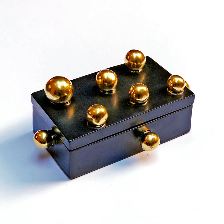 Golden Sphere Box with Lid Black