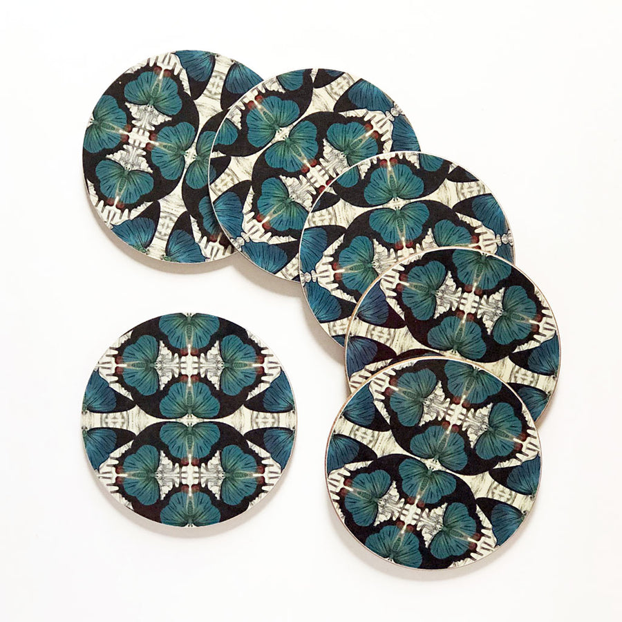 PATCH NYC Blue Butterfly Coaster Set