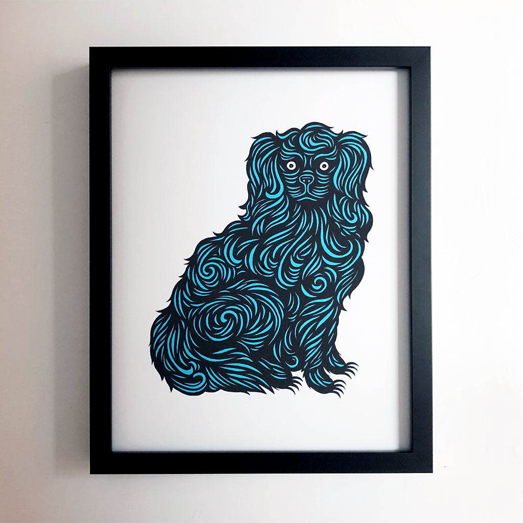 Don Carney Fancy Dog Turquoise Art Print {DCP01}