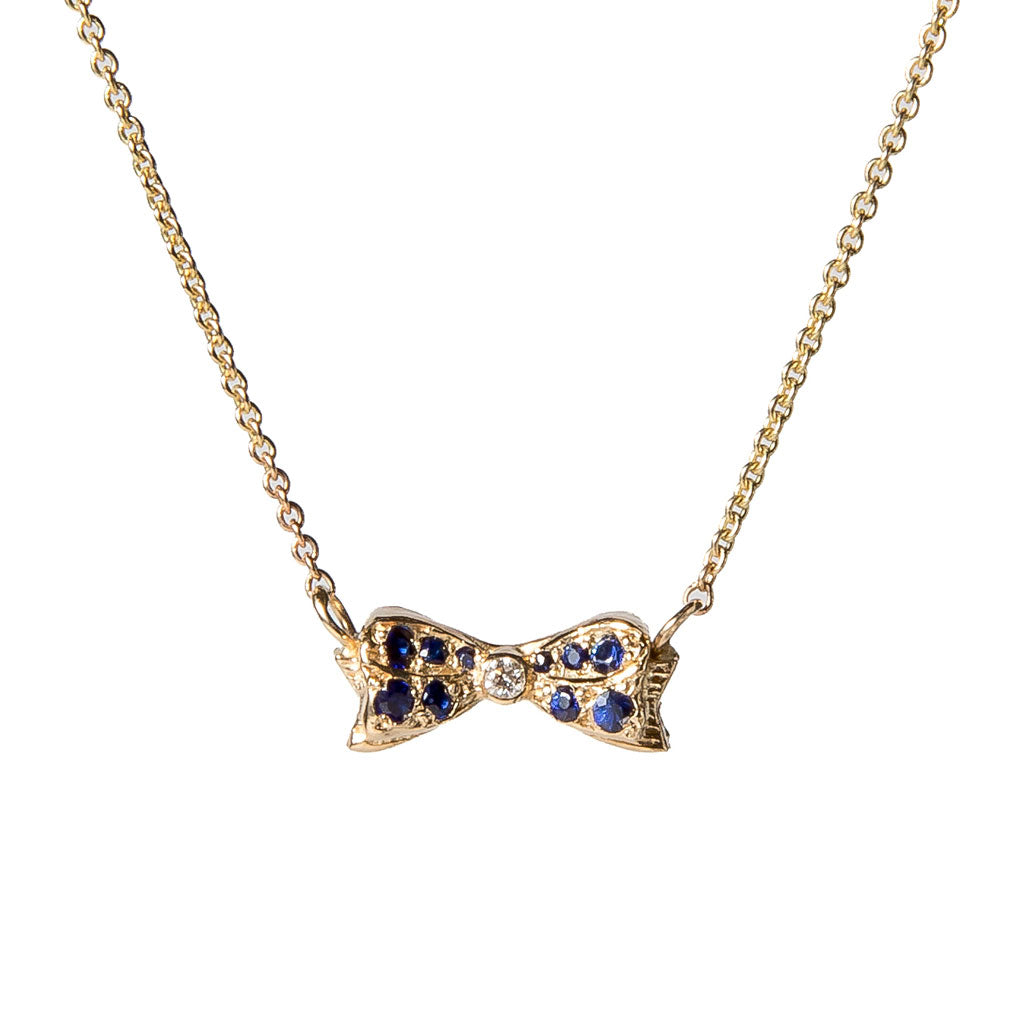 Bow Charm with Sapphires Necklace {PMF001}