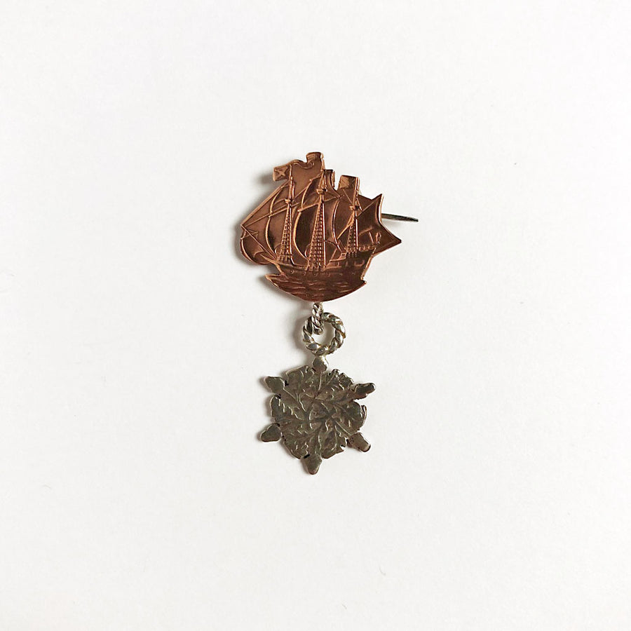 Ship & Acorns Brooch