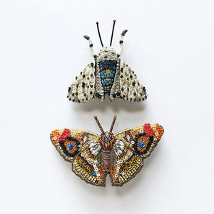 Moth and Butterfly Embroidered Pins