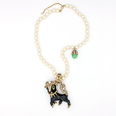 Bull Charm Pearl Necklace {P133NE}