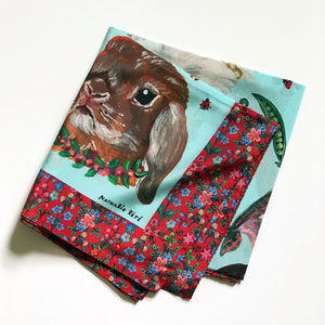 Heads of Rabbits on Blue Silk Scarf by Nathalie Lete