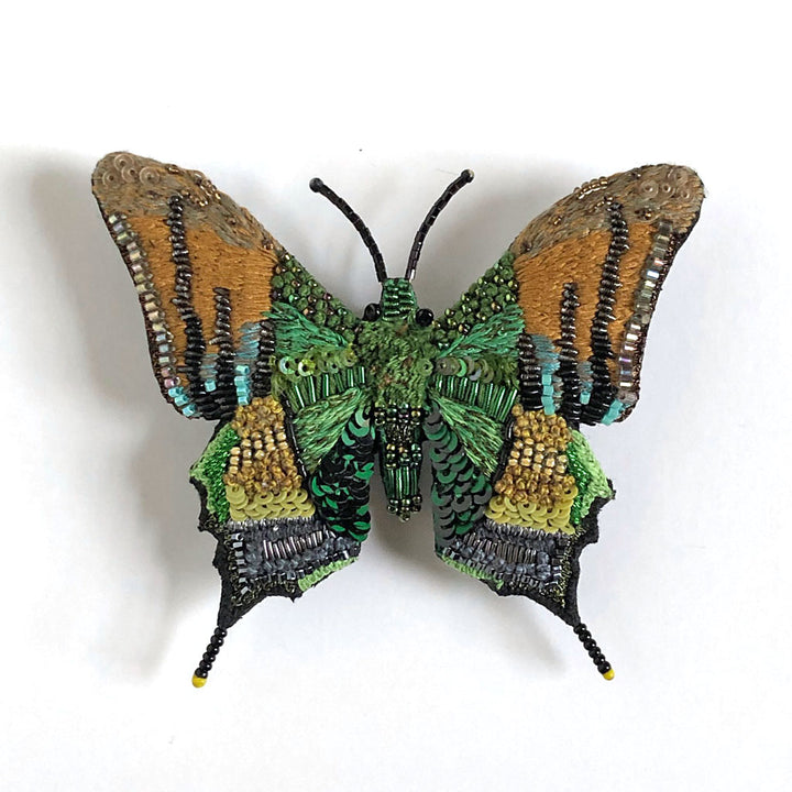 Green & Tan Butterfly Embroidered Pin