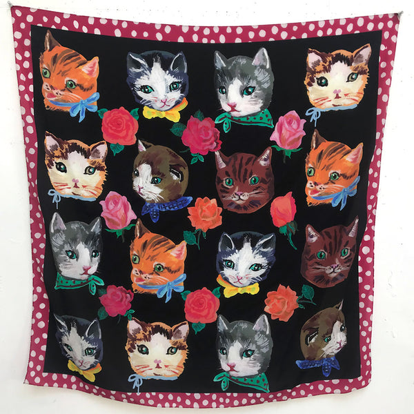 Cats Silk Scarf by Nathalie Lete
