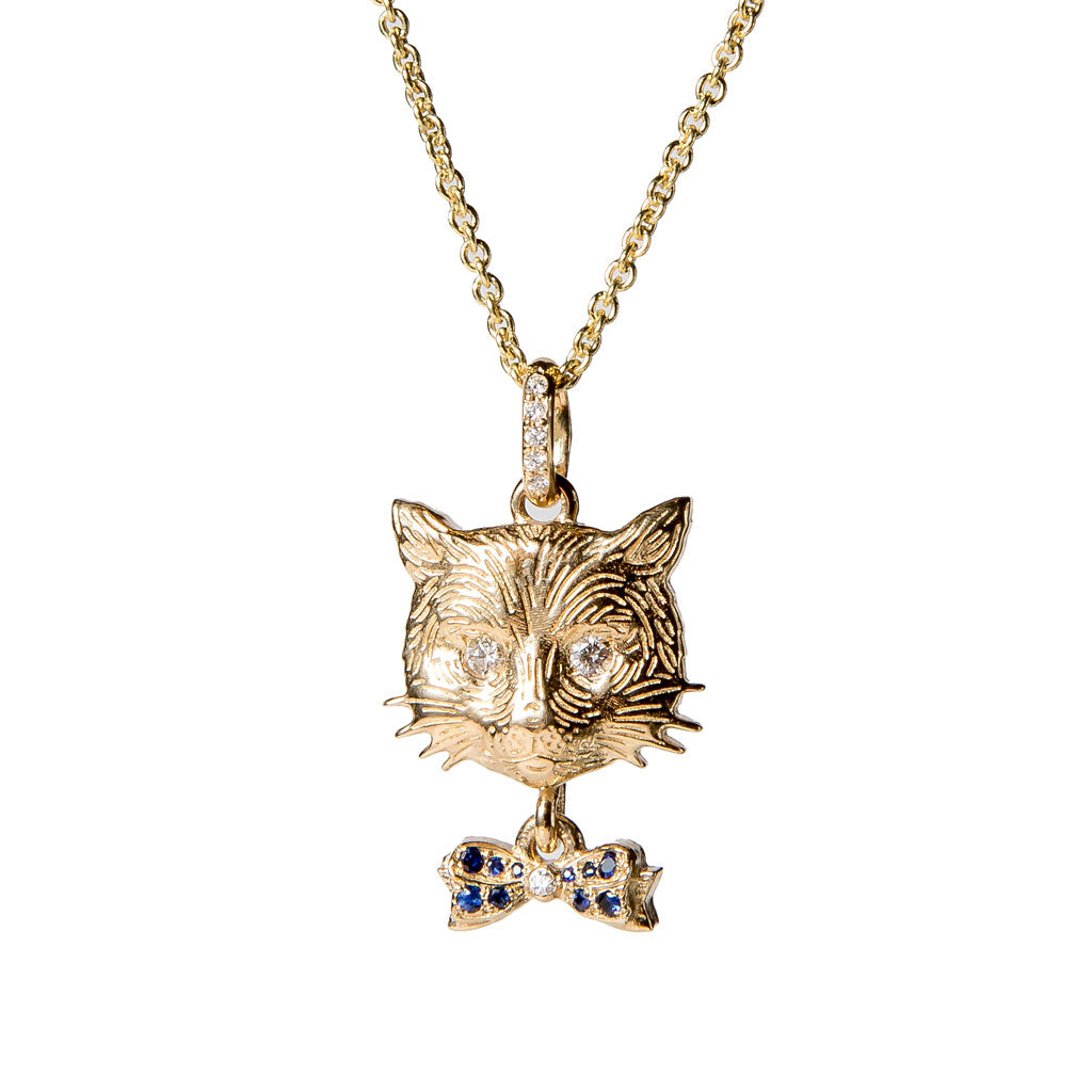 Cat with Sapphire Bow Necklace {PMF005y}