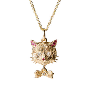 Ruby Nose Cat Charm with Bow {PMF005x}