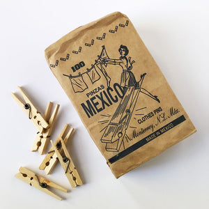 Package of 100 Wooden Clothespins