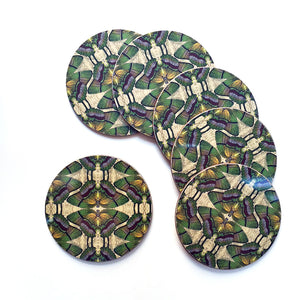 PATCH NYC Green Butterfly Coaster Set