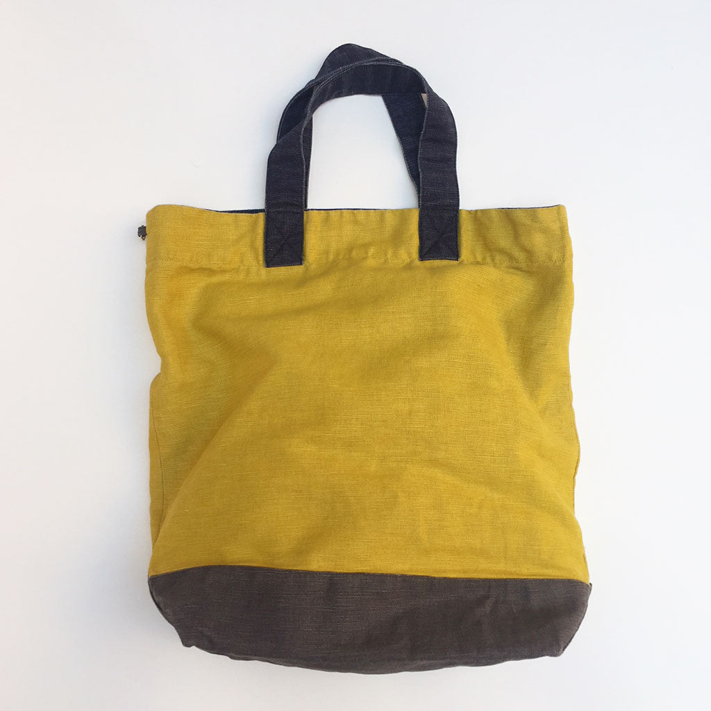 Washed Linen Color Block Tote {PT007}
