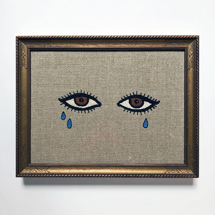 Carmella Carney Needlework Crying Brown Eyes