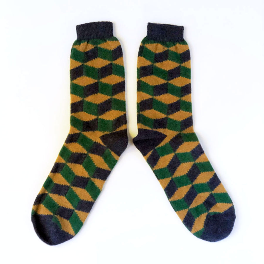 Men's Lambswool Socks Rhombus Cubes