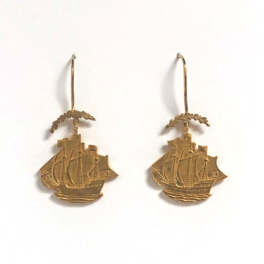 Ship & Wreath Drop Earrings