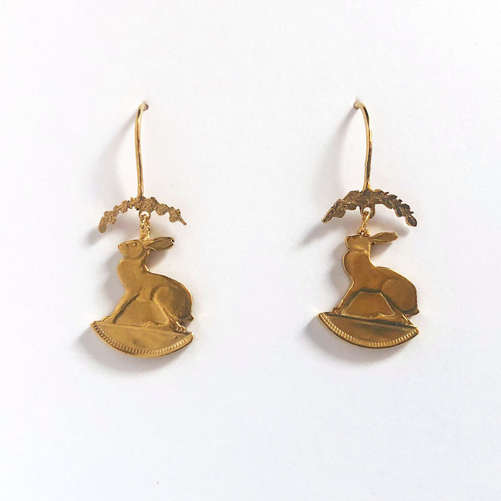 Hare & Wreath Drop Earrings