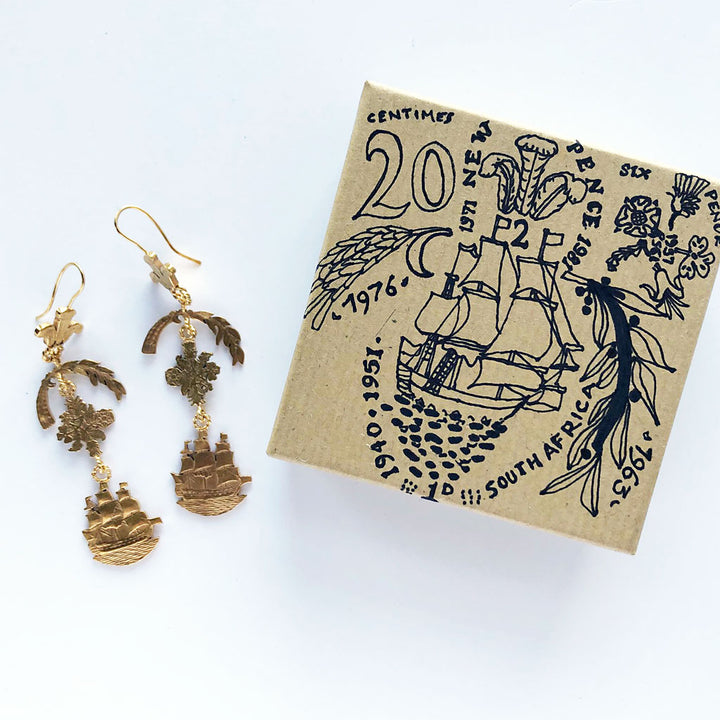 Crest & Ship Drop Earrings