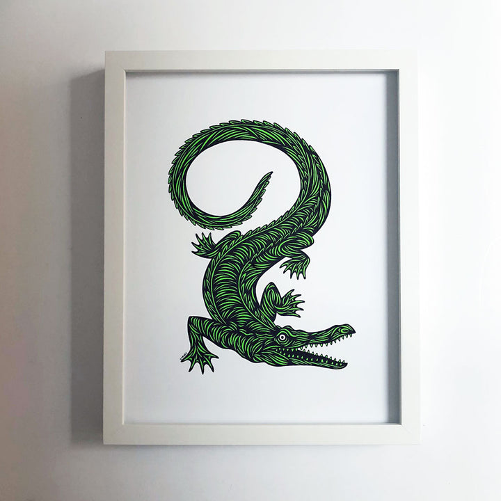 Don Carney Crocodile Vibrant Green Art Print {DCP08}