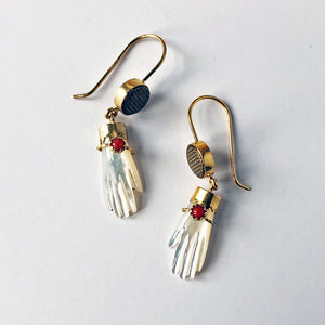 Mother of Pearl Hand with Coral Bracelet Earrings