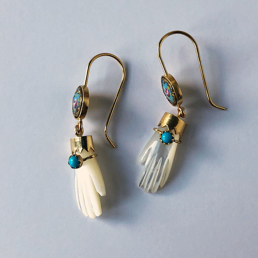 Mother of Pearl Hand with Turquoise Bracelet Earrings