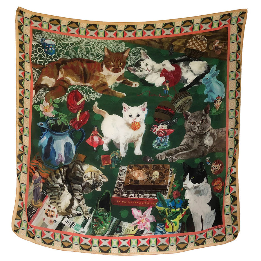 La Vie des Chats (Life of Cats) Silk Scarf by Nathalie Lete