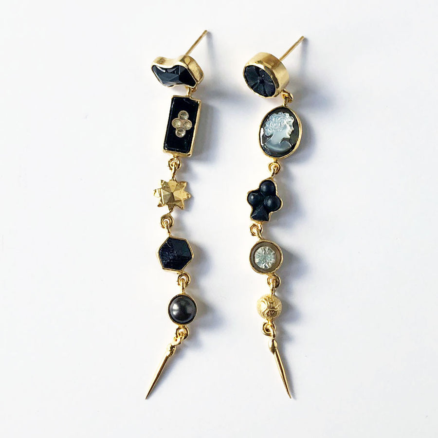 Five Charm Victorian Drop Earrings Black
