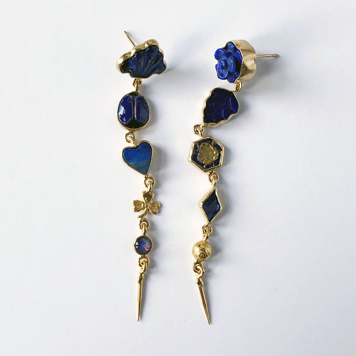 Five Charm Victorian Drop Earrings Blue