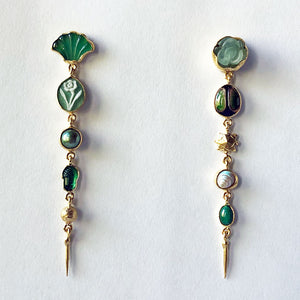 Five Charm Victorian Drop Earrings Green