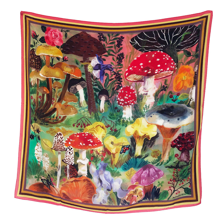 Mushrooms Silk Scarf by Nathalie Lete