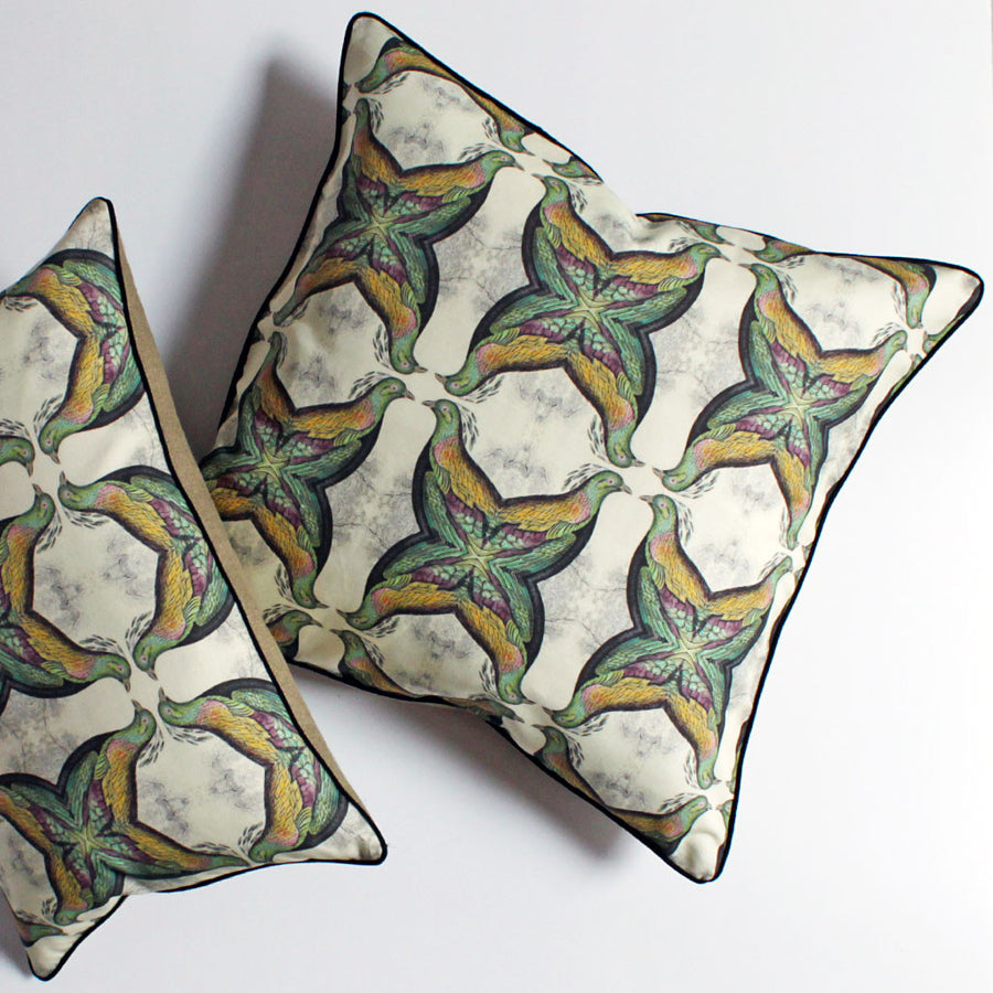 Geometric Bird Pillow Green/Purple {CP00}