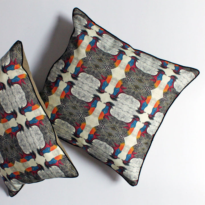 Geometric Bird Pillow Red/Blue {CP02}