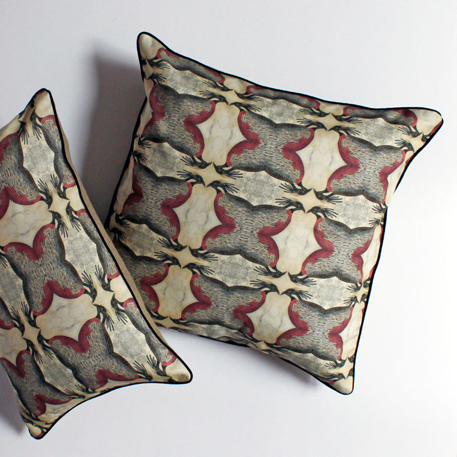 Geometric Bird Pillow Rust/Brown {CP03}