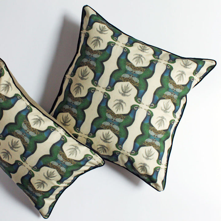 Geometric Bird Pillow Blue/Green {CP08}