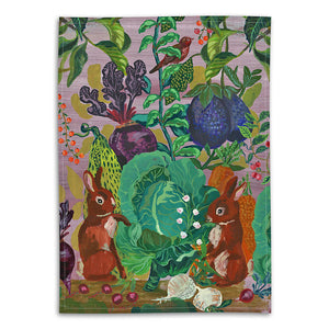 Nathalie Lete Rabbits in the Cabbage Patch Linen Tea Towel