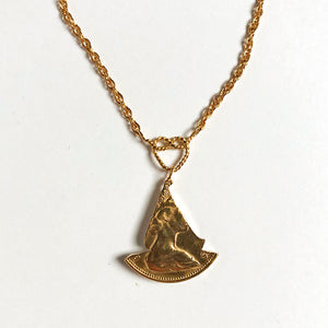 Golden Sailboat Silhouette Necklace