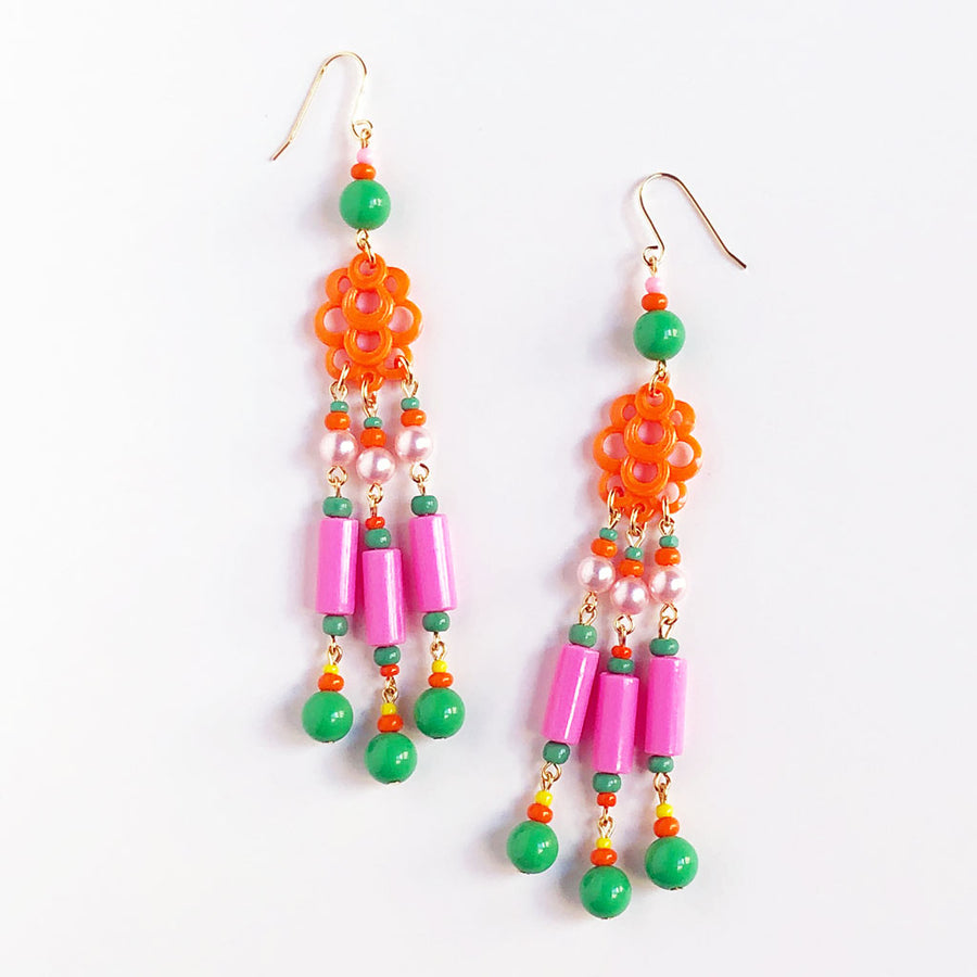 Orange Cloud Triple Drop Earrings