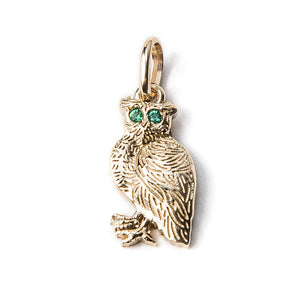 Owl Charm with Emerald Eyes {PMF02E}