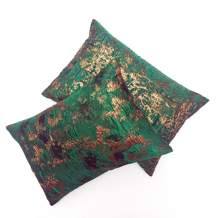 Pair of Green Brocade Pillows {P6182}