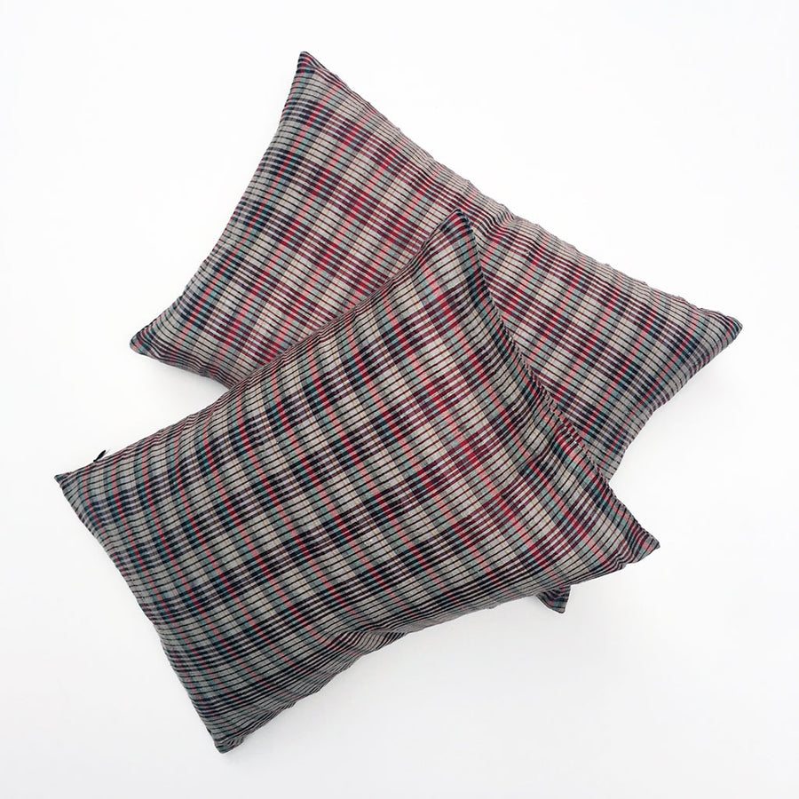 Pair of Multi Plaid Silk Pillows {P6188}
