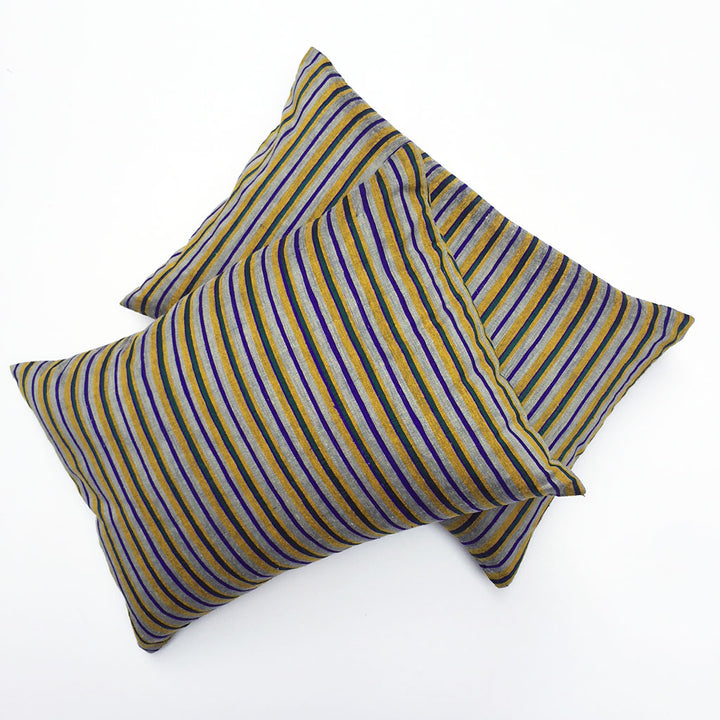 Pair of Multi Stripe Silk Pillows {P6185}